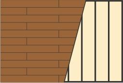 Схема укладки террасной доски в разбежку