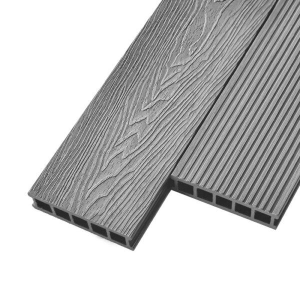 Композитная террасная доска из ДПК, декинг Deckson Crown 3D 165х32 мм цвет серый