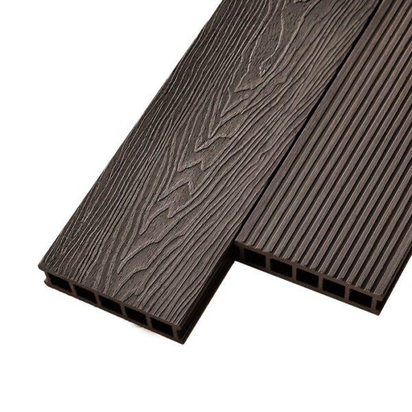 Композитная террасная доска из ДПК, декинг Deckson Crown 3D 165х32 мм цвет венге