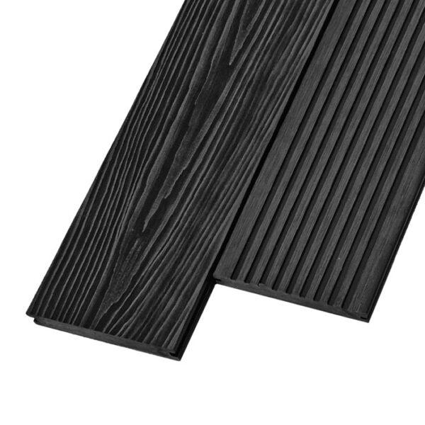 Композитная террасная доска из ДПК, декинг, палубная доска Unodeck Solid 3D 154х20 мм цвет графит
