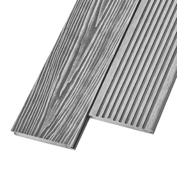 Композитная террасная доска из ДПК, декинг, палубная доска Unodeck Solid 3D 154х20 мм цвет серый